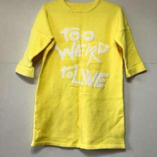 嫰黃色長身中袖冷衫