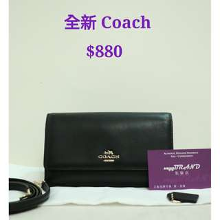 全新 COACH 黑色 羊皮 斜揹袋 小袋 銀包 Black Lambskin Small Bag Wallet