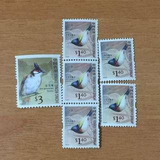 2006年 紅耳鵯 叉尾太陽鳥 郵票 共6張