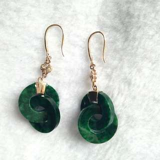 18K Gold - Grade A Spicy Green Inter-lock Unique Jadeite Jade Earring