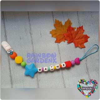 Handmade Customized Rainbow Pacifier Clip with letter beads
