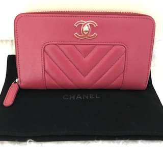 Chanel medium zip wallet rose pink