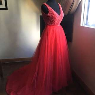 Red ball gown fully beads on top