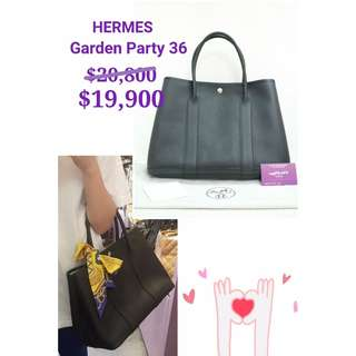 99% New HERMES Garden Party 36 PM Black 黑色 皮革 手提袋 大號 肩背袋 手袋 Noir Black Leather Handbag