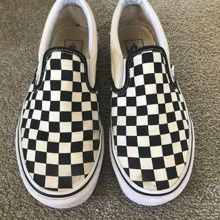 Cheakerboard slip on vans