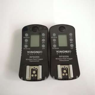 Tigger wireless flash Rf605n trancsceiver yougnuo universal 1 pair ( 2 item) nikon canon