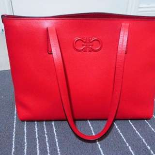 Salvatore Ferragamo Red Grained Calf Leather Tore Bag