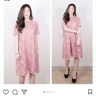 Dress lace -Pink /nude