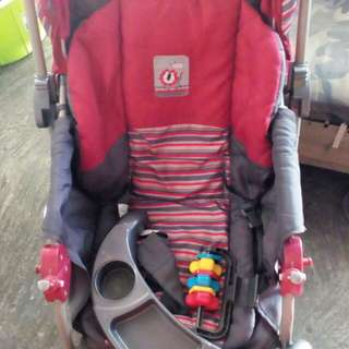 Baby1st S034EB Stroller 3-Position Reclining Backrest Dual Brake Rear (Red