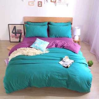 Plain Colors 100% COTTON 4 in 1 Bedsheets Set