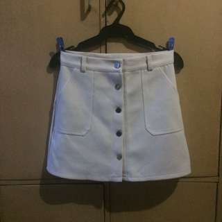 Beige button down skirt