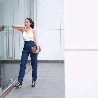 White n blue Jumpsuit