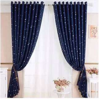 Navy Blue 3 in 1 Curtain Set