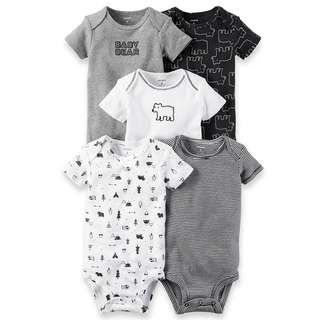 CARTER'S Baby Boy 5-Pack Short Sleeve Bodysuit Carters Onesie Baby Bear 9M