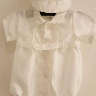 Baptismal outfit - romper with cap