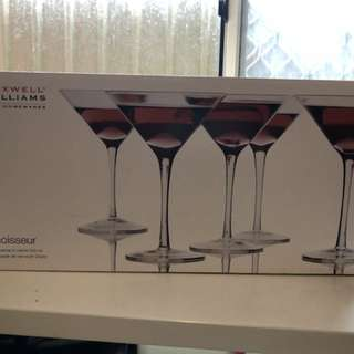 Martini glasses 6 new in box never used