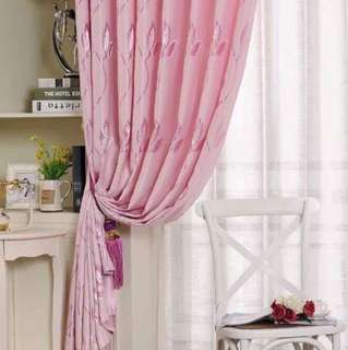 3 in 1 Pink Curtain Set with Embroidery