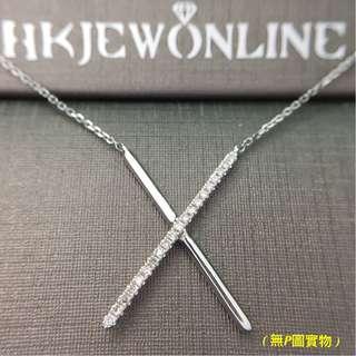 18K 白金 鑽石 X 頸鍊 (16+1吋)