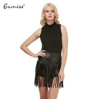 Black turtle neck dress with leather skirt