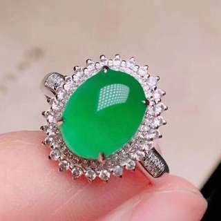 18K白金 哥倫比亞祖母綠 鑽石戒指