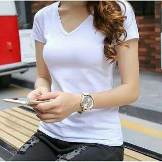 Cotton V Neck White (good quality)