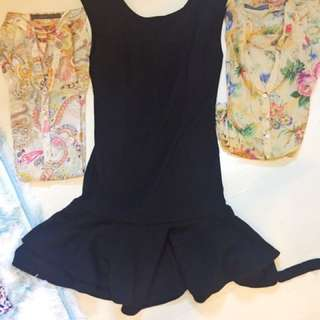 zara blouse and black dress