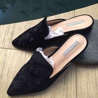 Sepatu sandal mules brokat