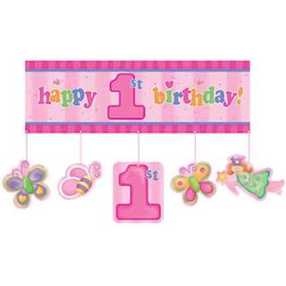 Pink at One Girl 1st Birthday Party Giant Banner