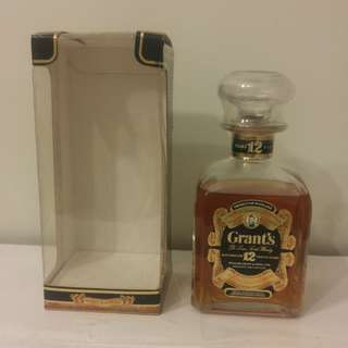 (6B30) 約70-80年代 Grant's de luxe scotch whisky 12years 750ml 43% (有盒) 日本法國舊酒洋酒威士忌白蘭地干邑拿破崙whisky brandy cognac xo vsop napoleon