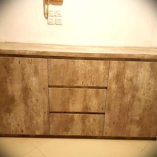 Wooden credenza in stone finish