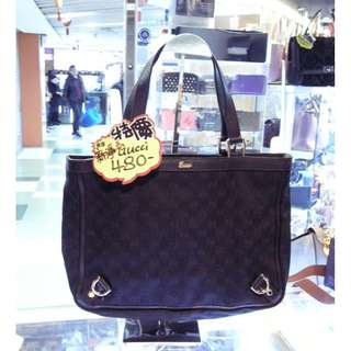 Gucci GG Logo Monogram Black Canvas Shoulder Hand Bag 古馳 黑色 帆布 手挽袋 手袋 肩袋 袋