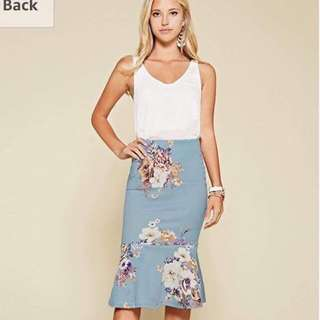 White top floral skirt terno