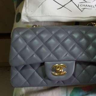 Chanel20cm灰色羊皮袋