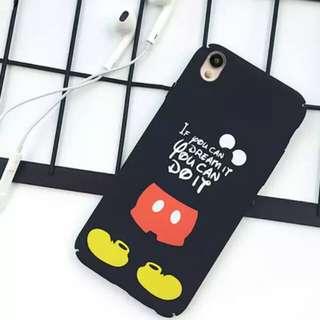 🚚 Oppo R9 Plus  迪士尼米奇米老鼠黑色可愛硬殼手機殼贈送黑色掛繩