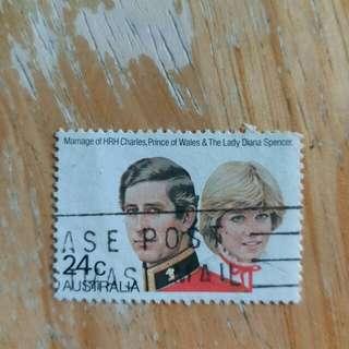 澳洲郵票英皇查理斯与戴安娜结婚已銷纪念郵票a02