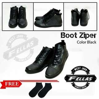 Sepatu Casual Fellas Zipper Black