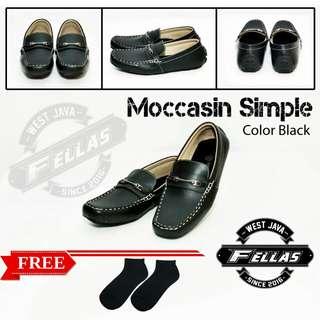 Sepatu Casual Moccasins Simple Black