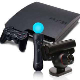 PS3 Console with Standard and Motion Controllers