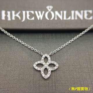 18K 白金 鑽石 四葉草 頸鍊 (16+1吋)