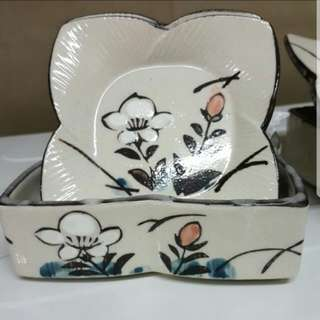 Vintage Japanese 9 piece Dessert/ cake plates and covers