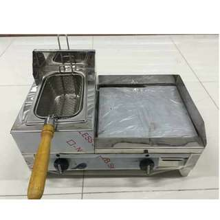 High Quality Stainless 2in1 Hamburger Grill with Deep Fryer (Gas Type)