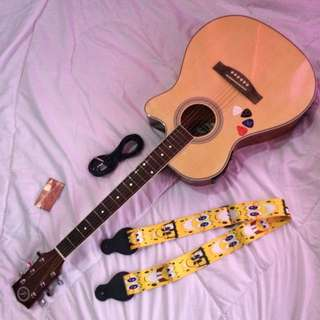 Lyric guitar with tuner
