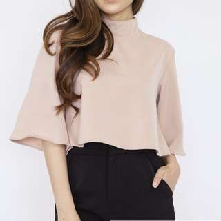 High Neck Cape Top Nude