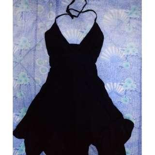 Halterneck Asymmetrical Hem Black Dress
