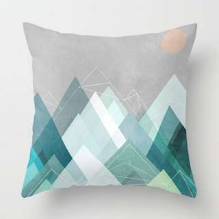 Abstract Mountain Lanscape Cushion Throw Pillow Cover