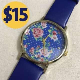 小清新藍色碎花手錶 Blue flowered watch