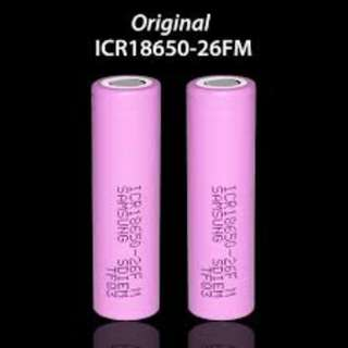 Samsung 2600mAh 3.7V 18650 Rechargeable Lithium Battery - Pink($9ea)