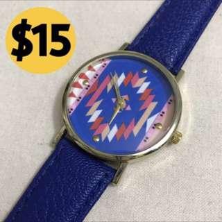 藍色民族圖案手錶 Blue watch