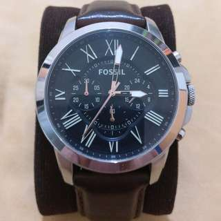 Fossil Grant Chronograph Black Dial Brown Leather