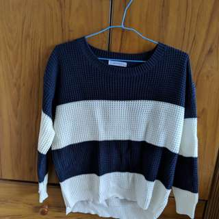 Navy Blue and White Stripe Knitted Top
